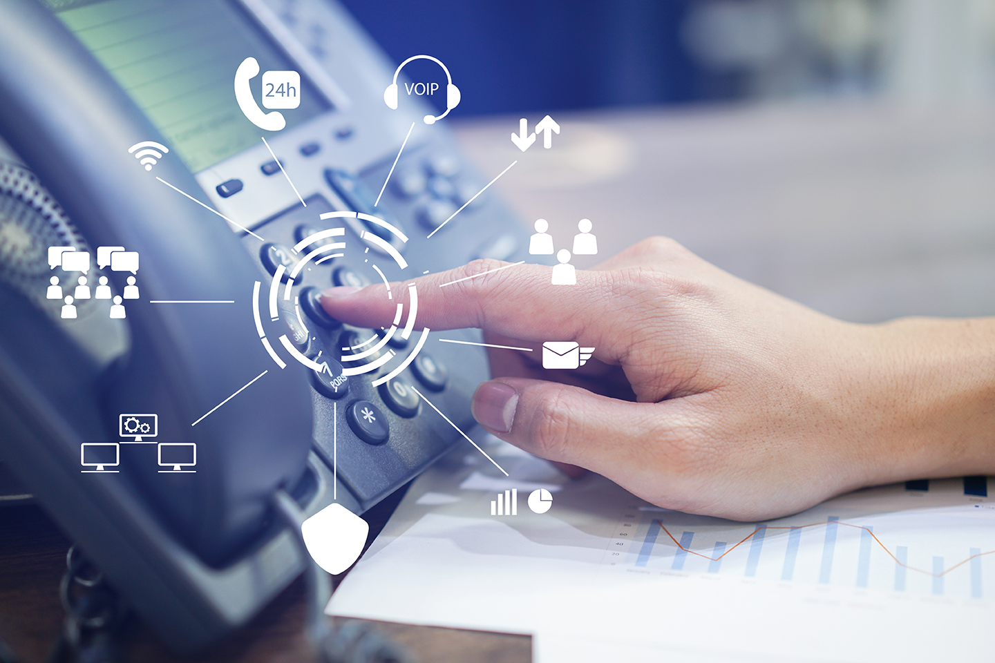 VoIP is a new office telephone for a small to medium sized business.